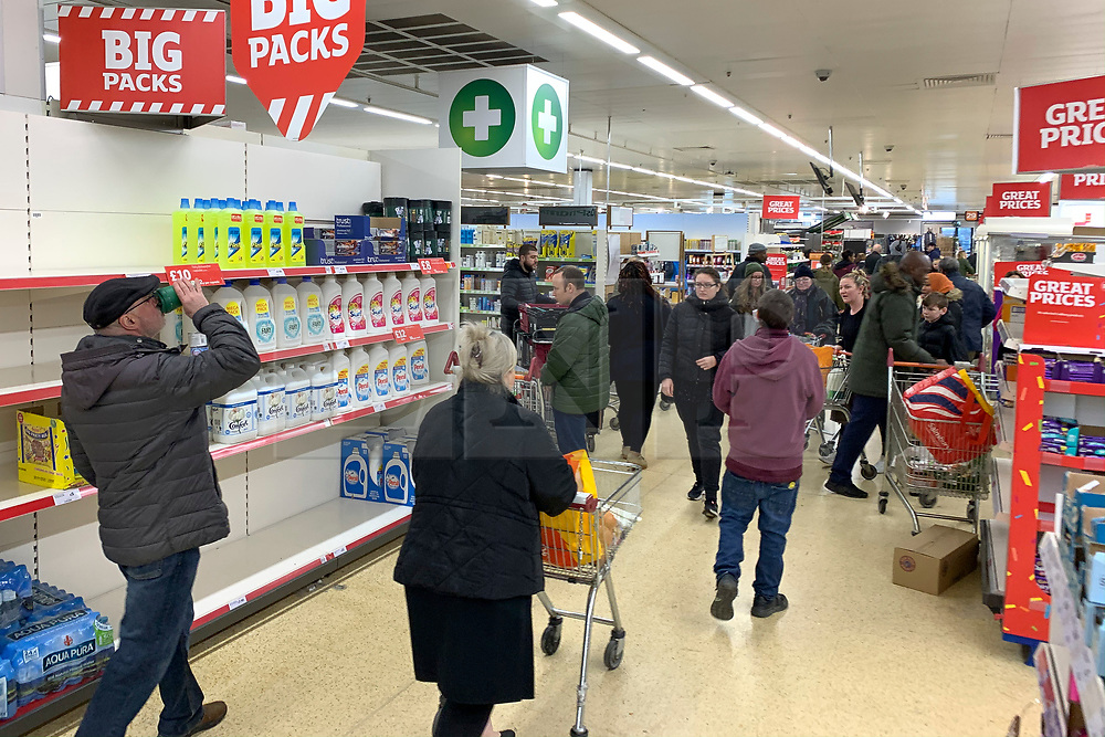 © Licensed to London News Pictures. 14/03/2020. London, UK. A bust supermarket shortly after opening at 7am at Sainsbury's on Ladbroke Grove in west London. New cases of the COVID-19 strain of Coronavirus are being reported daily as the government outlines it's plans for delaying the outbreak. Photo credit: Ben Cawthra/LNP