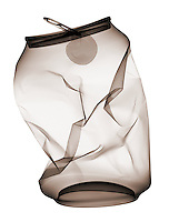 X-ray image of an aluminum can (brown on white) by Jim Wehtje, specialist in x-ray art and design images.