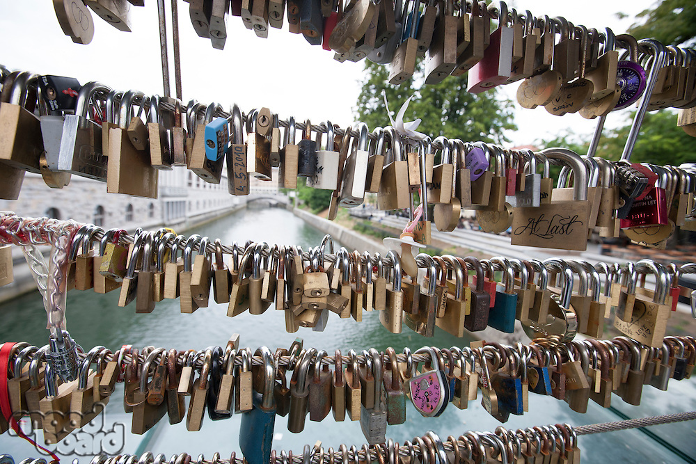 Padlocks over canal in Zagreb; Croatia