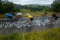 Riders taking part in the Prudential RideLondon Surrey 100 cycle up Box Hill in Surrey. The Prudential RideLondon Sportives. Sunday 29th July 2018<br /> <br /> Photo: Anthony Upton for Prudential RideLondon<br /> <br /> Prudential RideLondon is the world's greatest festival of cycling, involving 100,000+ cyclists - from Olympic champions to a free family fun ride - riding in events over closed roads in London and Surrey over the weekend of 28th and 29th July 2018<br /> <br /> See www.PrudentialRideLondon.co.uk for more.<br /> <br /> For further information: media@londonmarathonevents.co.uk