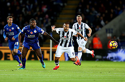 Jose Salomon Rondon of West Bromwich Albion beats Wes Morgan of Leicester City to the ball - Mandatory by-line: Robbie Stephenson/JMP - 06/11/2016 - FOOTBALL - King Power Stadium - Leicester, England - Leicester City v West Bromwich Albion - Premier League