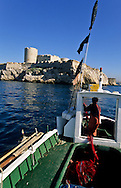 = Phillipe Clement fisherman fishing in front of Chateau d'If Marseille   France     /// Phillipe Clement peche au pied du chateau d If Marseille France  +