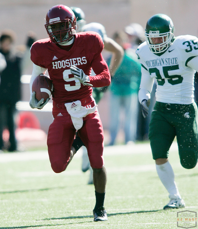 28 October 2006: Indiana cornerback Tracy Porter (9)  as  the Indiana Hoosiers beat the the Michigan State Spartans 46-21 in college football in Bloomington, Ind.