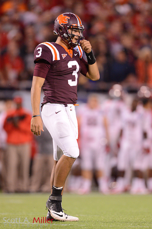 Virginia Tech Hokies quarterback Logan Thomas (3) during the Hokies 13-10 overtime win over the Rutgers Scarlet Knights in the Russell Athletic Bowl on Dec 28, 2012 in Orlando, Florida. ..©2012 Scott A. Miller..