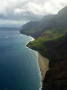 Aerial view of the Na Pali coast, Kauai, Hawaii on a cloudy day.
