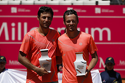 May 6, 2018 - Estoril, Portugal - Wesley Koolhof from Netherlands and Artem Sitak from New Zealand pose with their trophies after been defeated by  Kyle Edmund and Cameron Norrie from Great Britain in their Millennium Estoril Open ATP doubles final tennis match in Estoril, near Lisbon, on May 6, 2018. (Credit Image: © Carlos Palma/NurPhoto via ZUMA Press)