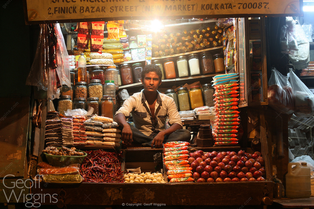 Shopkeeper in Kolkata the capital of the Indian state of West Bengal.
