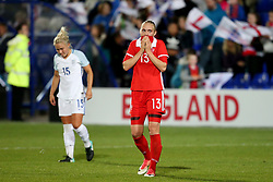 Anna Belomyttseva of Russia looks dejected at full time - Mandatory by-line: Matt McNulty/JMP - 19/09/2017 - FOOTBALL - Prenton Park - Birkenhead, United Kingdom - England v Russia - FIFA Women's World Cup Qualifier