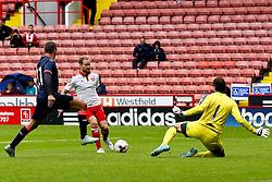 Matt Done of Sheffield United chips a shot over Tim Krul of Newcastle United - Mandatory by-line: Matt McNulty/JMP - 26/07/2015 - SPORT - FOOTBALL - Sheffield,England - Bramall Lane - Sheffield United v Newcastle United - Pre-Season Friendly