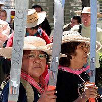 """Toluca, Mex.- Familiares de los detenidos en el penal federal de """"La Palma"""", por los actos violentos en San Salvador Atenco del pasado mayo del 2006, se manifestaron frente al edificio del Poder Judicial, con los tradicionales machetes en alto, para exigir la liberación de tres integrantes de su movimiento. Agencia MVT / Luis Enrique Hernandez V. (DIGITAL)<br /> <br /> <br /> <br /> NO ARCHIVAR - NO ARCHIVE"""