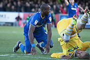 AFC Wimbledon striker Tom Elliott (9) scores a goal 2-2 during the EFL Sky Bet League 1 match between AFC Wimbledon and Millwall at the Cherry Red Records Stadium, Kingston, England on 2 January 2017. Photo by Stuart Butcher.