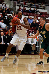 Nov 15, 2011; Stanford CA, USA;  Stanford Cardinal guard Jarrett Mann (22) dribbles past Colorado State Rams guard Jesse Carr (11) during the first half of a preseason NIT game at Maples Pavilion. Mandatory Credit: Jason O. Watson-US PRESSWIRE