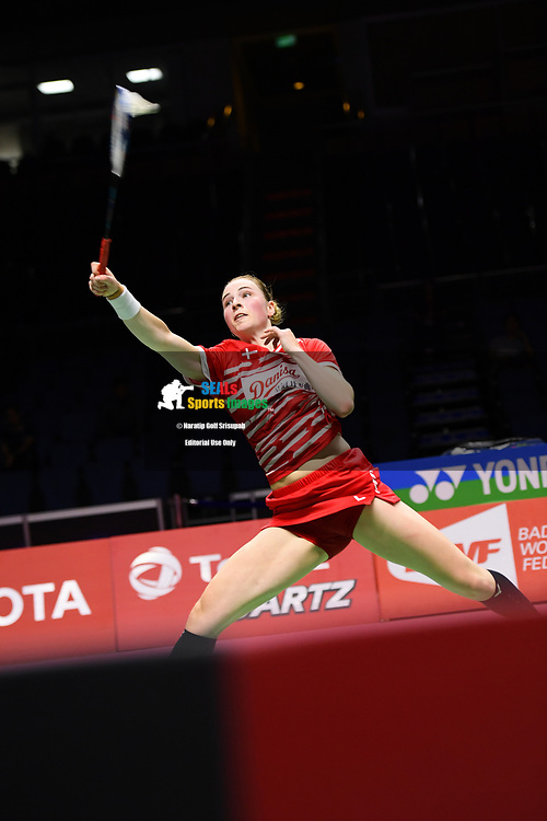BANGKOK, THAILAND - MAY 24: Line Hojmark Kjaersfeldt of Denmark in action on Court 1 during her Quarter Finals match against Gao Fangjie of China at the BWF Total Thomas and Uber Cup Finals 2018, Impact Arena, Bangkok, Thailand on May 24, 2018.<br /> .<br /> .<br /> .<br /> (Photo by: Naratip Golf Srisupab/SEALs Sports Images)<br /> .<br /> Any image use must include a mandatory credit line adjacent to the content which should read: Naratip Golf Srisupab/SEALs Sports Images
