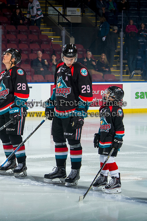 KELOWNA, CANADA - OCTOBER 3:  Nolan Foote #29 of the Kelowna Rockets stands on the blue line with the Save On Foods player of the game against the Vancouver Giants on October 3, 2018 at Prospera Place in Kelowna, British Columbia, Canada.  (Photo by Marissa Baecker/Shoot the Breeze)  *** Local Caption ***