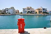 Emergency SOS red box. Limassol Marina and port, Cyprus