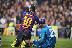 March 2, 2019 - Madrid, Madrid, Spain - Thibaut Courtois (goalkeeper; Real Madrid), Lionel Messi (forward; Barcelona) in action during La Liga match between Real Madrid and FC Barcelona at Santiago Bernabeu Stadium on March 3, 2019 in Madrid, Spain (Credit Image: © Jack Abuin/ZUMA Wire)
