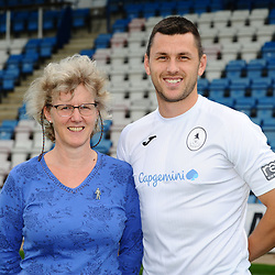 AFC Telford United pre-season photoshoot at the New Bucks Head Stadium on Thursday, August 1, 2019<br /> <br /> Aaron Williams with sponsor Carolyn Hornby<br /> <br /> Free for editorial use only<br /> Picture credit: Mike Sheridan/Ultrapress<br /> <br /> MS201920-004
