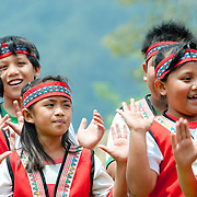 Bunong children sing at Bunong Aboriginal Tribe Ear Festival, Namasiya Township, Kaohsiung County, Taiwan.  April 26th 2008