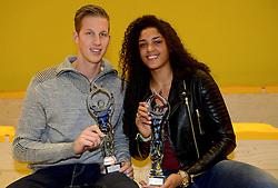 30-12-2014 NED: Uitreiking Ingrid Visser en Volleybalkrant Award 2014, Almelo<br /> Volleybalkrant organiseert voor de tweede keer de beste volleyballer en volleybalster. De Ingrid Visser en de Volleybalkrant awards werden uitgereikt door Patsy Visser, de moeder van Ingrid Visser /  Celeste Plak en Christiaan Varenhorst