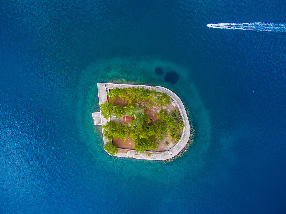 Aerial images of Lazareto islet in Vathy village, the main town of the island.
