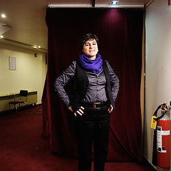 "Nadia El Fani's portrait during Brussels' Festival des Cinemas Africains (African Film Festival). She directed ""Ouled Lenine"", a documentary Film. Commune d'Ixelles, Brussels. April 4, 2009. Photo : Antoine Doyen"