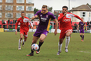 Danny Wright and Noah Chesmain during the Vanarama National League match between Welling United and Cheltenham Town at Park View Road, Welling, United Kingdom on 5 March 2016. Photo by Antony Thompson.