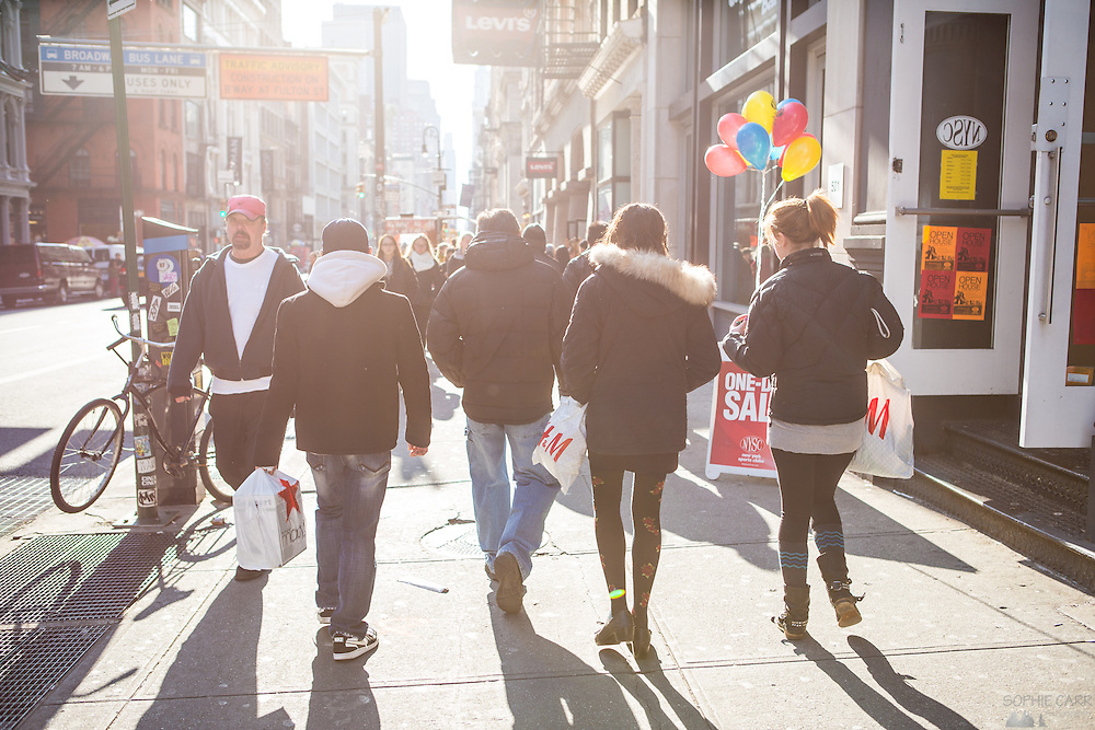 People shopping in SoHo, New York, on Black Friday