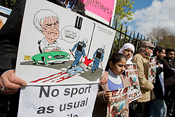 © licensed to London News Pictures. London, UK 21/04/2012. Bahraini exiles and their British supporters protesting outside the headquarters of Formula 1 for Sunday's race to be cancelled. Photo credit: Tolga Akmen/LNP