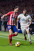 Atletico de Madrid Juanfran Torres and Real Madrid Karim Benzema during La Liga match between Atletico de Madrid and Real Madrid at Wanda Metropolitano in Madrid, Spain. November 18, 2017. (ALTERPHOTOS/Borja B.Hojas)