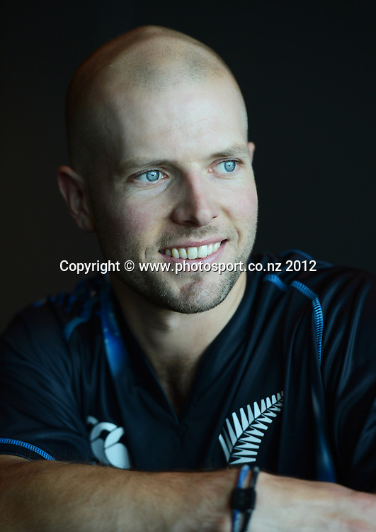 Derek de Boorder, New Zealand Black Caps photoshoot and portrait / headshots session. International Cricket. Novotel Hotel, Auckland. 12 December 2012. Photo: Andrew Cornaga/photosport.co.nz