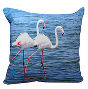 Flamingo cushion. pinks and blues. 50x50cm