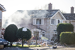 © Licensed to London News Pictures. 19/02/2016. Haxby UK. At least one casualty has been reported after a detached house was destroyed on Springwood in Haxby in what is believed to be a gas explosion. Photo credit: Andrew McCaren/LNP