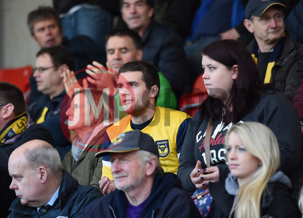 Spectator at Whaddon Road for the Sky Bet League Two game between Cheltenham Town and Oxford United - Photo mandatory by-line: Paul Knight/JMP - Mobile: 07966 386802 - 29/11/2014 - SPORT - Football - Cheltenham - Whaddon Road - Cheltenham Town v Oxford United - Sky Bet League Two