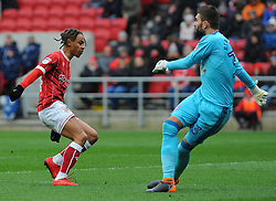 Bobby Reid of Bristol City applies pressure on Bartosz Bialkowski of Ipswich Town- Mandatory by-line: Nizaam Jones/JMP - 17/03/2018 - FOOTBALL - Ashton Gate Stadium- Bristol, England - Bristol City v Ipswich Town - Sky Bet Championship