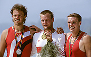Barcelona Olympics 1992 - Lake Banyoles, SPAIN,  Centre, Gold Medalist, GER  M1X. Thomas  LANGE,  left Silver  Medalist, CZE M1X. Vaclav, CHALUPA,  right Bronze  Medallist, POL M1X, Kajeta, BRONIEWSKI,  [Mandatory Credit:  Peter Spurrier/Intersport Images].