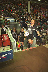 Liverpool, England - Wednesday, November 27th, 1996: Referee Alan Wilkie leads out Liverpool and Arsenal before the 4th Round of the League Cup at Anfield. (Pic by David Rawcliffe/Propaganda)