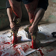 I Vattienti di Nocera Terinese (Calabria). In occasione della Settimana Santa a Nocera, in provincia di Catanzaro, decine di vattienti percuotono le proprie gambe con il cardo, tappo di sughero e cera in cui sono conficcati 13 pezzi di vetro taglienti, fino a ricoprire le strade del paese di sangue. Di tradizione plurisecolare, la flagellazione prevede un rito privato e domestico ed uno pubblico, in concomitanza di chiese, croci, abitazioni di amici e parenti. Particolarmente forte l'incontro tra la statua della Pietà ed i vattienti dove la flagellazione aumenta di intensità ed emotività.