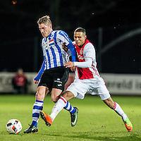 AMSTERDAM - Jong Ajax - FC Eindhoven , Voetbal , Jupiler league , Seizoen 2016/2017 , Sportpark de Toekomst , 24-02-2017 , Eindhoven speler Jinty Caenepeel (l) in duel met Jong Ajax speler Damil Dankerlui (r)
