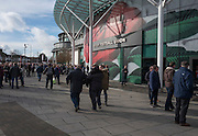 Twickenham, United Kingdom.    Supporters, outside the ground waiting for the doors to Open. RBS, Six Nations : England vs France. at the  RFU Stadium, Twickenham, England, <br /> <br /> Saturday  04/02/2017<br /> <br /> [Mandatory Credit; Peter Spurrier/Intersport-images]