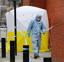 © Licensed to London News Pictures. 21/04/2018. London, UK. The scene in north London where two men were stabbed in the early hours of this morning. Police were called at around 03:00hrs on Saturday, 21 April, to reports of a stabbing on Seven Sisters Road. Officers and London's Air Ambulance attended the scene. A 21-year-old man was found at the scene suffering from stab wounds.<br /> A short distance away a second man, aged 20, was found suffering stab injuries in Roth Walk, N7. Despite the efforts of medics, he was pronounced dead at the scene at 03:43hrs. Photo credit: Tolga Akmen/LNP
