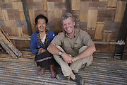 Apa Tani woman with Pete Oxford, Arunachal Pradesh, india