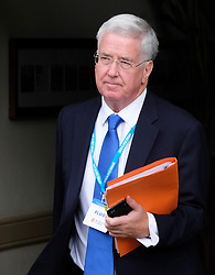 (c) Licensed to London News Pictures. <br /> 03/10/2017<br /> Manchester, UK<br /> <br /> Sir Michael Fallon MP, Defence Secretary, leaves the Midland Hotel during the Conservative Party Conference held at the Manchester Central Convention Complex.<br /> <br /> Photo Credit: Ian Forsyth/LNP