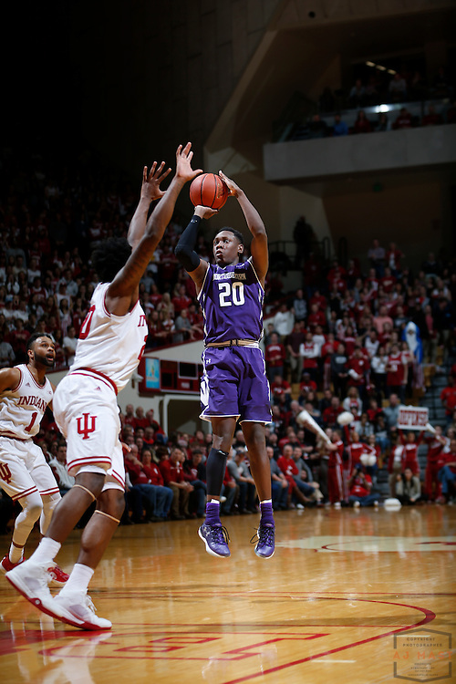 Northwestern guard Scottie Lindsey (20) in action as Northwestern played Indiana in an NCCA college basketball game in Bloomington, Ind., Saturday, Feb. 25, 2017. (AJ Mast)