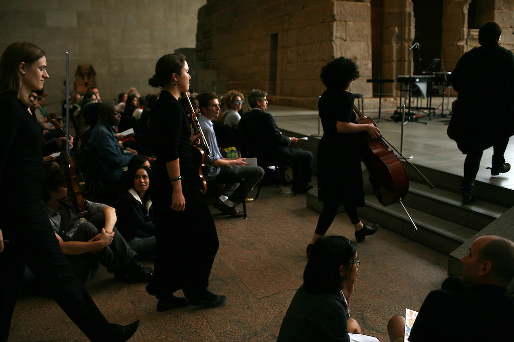 The quartet arrives for Remembering September 11, Wordless Music Orchestra conducted by Ryan McAdams presented at The Temple of Dendur in The Sackler Wing at The Metropolitan Museum of Art in Manhattan, NY on September 11, 2011...