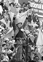 A young Dublin fan  during the Dublin v Galway in the 1974 All-Ireland Football Final at Croke Park.(Part of the Independent Newspapers ireland/NLI collection.)