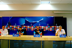 Feb 25, 2016 - Naples, Italy - At Castelvolturno where Napoli is home to training this afternoon there was the pre-conference with Nice that will take place tomorrow at the San Paolo valley stadium for the Play Off of the Champions League.; The conference was attended by Mr. Maurizio Sassri and the flag of the Lorenzo Insigne team; both of whom are very confident about the transition to the European trophy; Conferenza stampa calcio Napoli. (Credit Image: © Fabio Sasso via ZUMA Wire)