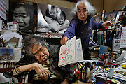 Kawasaki, November 21 2014 - Japanese artist Tatsumi ORIMOTO, 69, painting at home. while taking care of his 97-year-old mother.