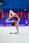 Tuncel Kamelya during the qualification of ball at the Pesaro World Cup 2018.Kamelya is a turkish gymnast born in Yenimahalle, metropolitan district of Ankara Province, in 2002.