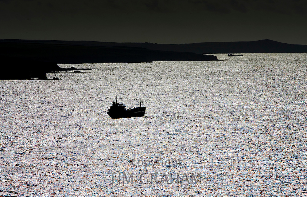 Cargo ship off the coast of Pembrokeshire, Wales, United Kingdom