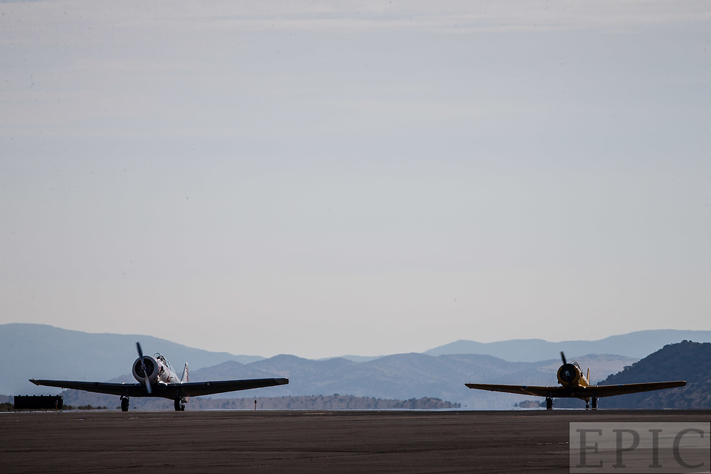 RENO, NV - SEPTEMBER 14: Planes in the T-6 class wait on the runway before another heat at the Reno Championship Air Races on September 14, 2017 in Reno, Nevada. (Photo by Jonathan Devich/Getty Images) *** Local Caption ***